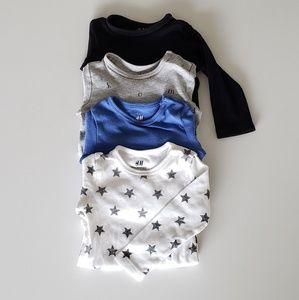 H&M organic long-sleeve onesies lot of 4 baby boy